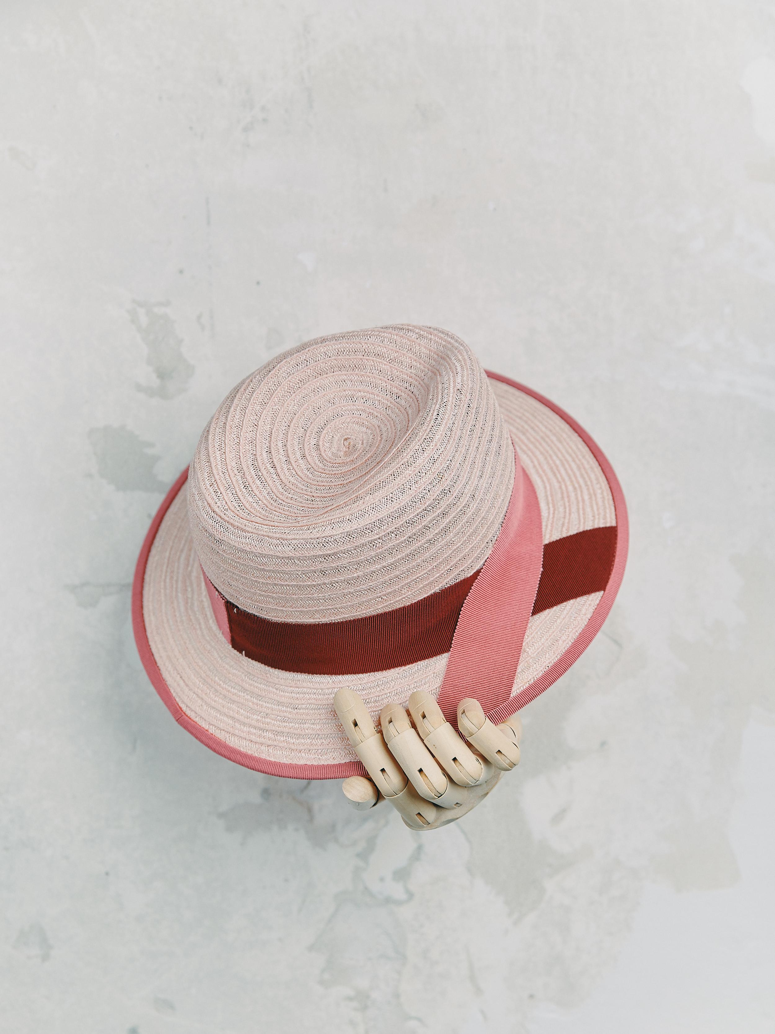 CANOTIER - Rose Clair bordé ruban Rose