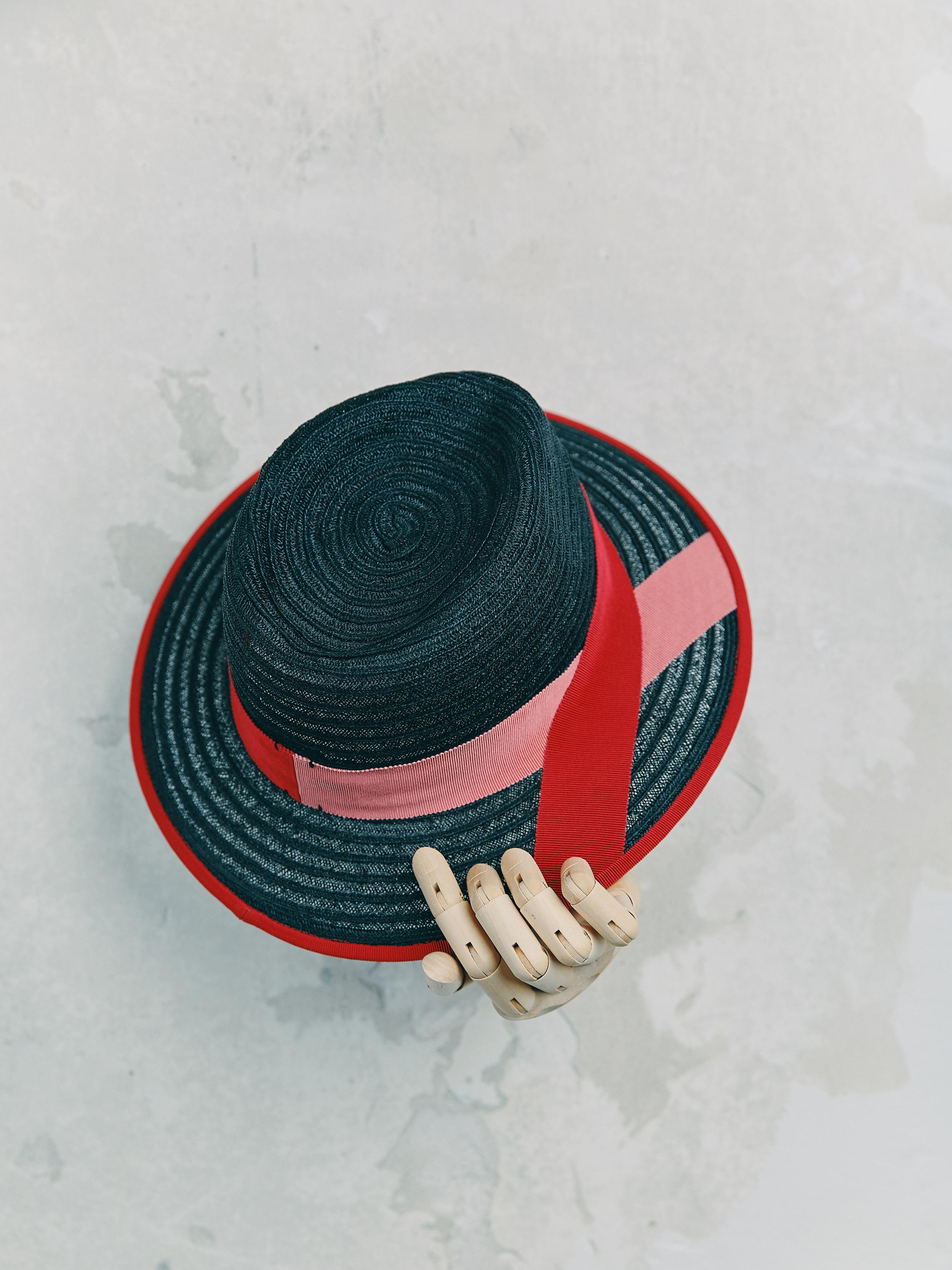 CANOTIER - Bleu Marine bordé ruban Rouge