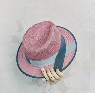 CANOTIER - Rose bordé ruban Gris foncé