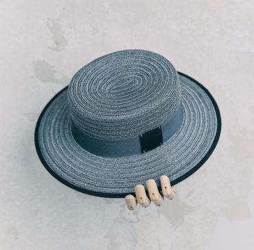 CANOTIER - Gris bordé ruban Noir