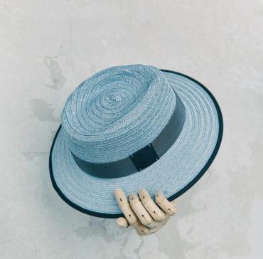 CANOTIER - Bleu Ciel bordé ruban Bleu Marine