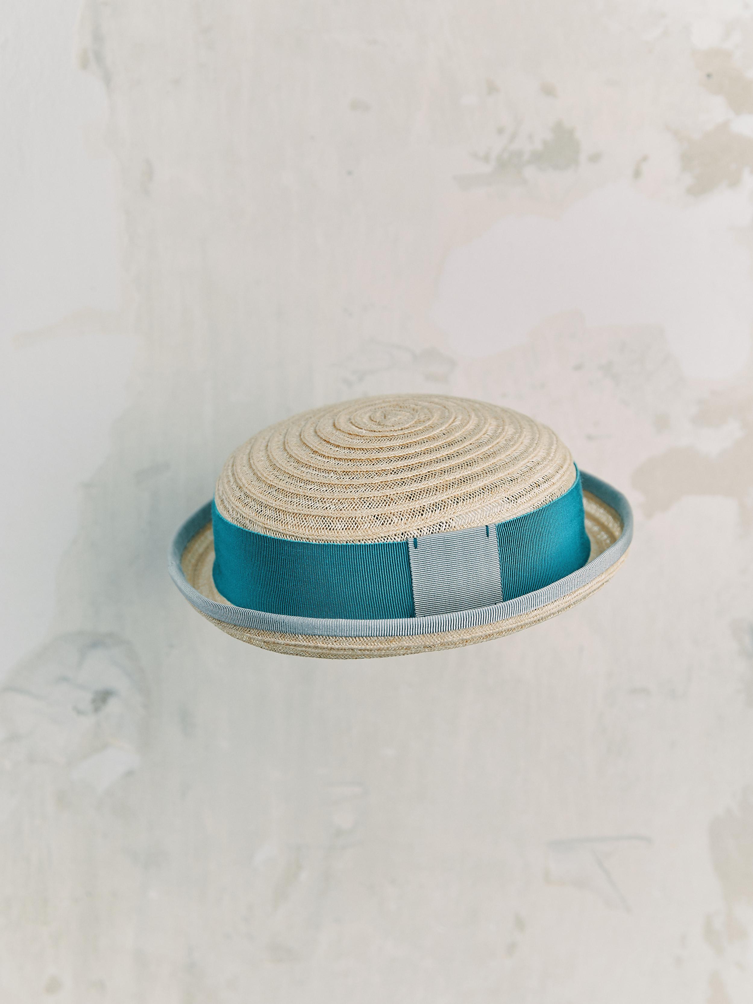 CHAPEAU ENFANT - Naturelle bordé ruban Bleu Clair