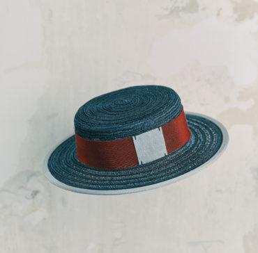 CANOTIER - Bleu Marine bordé ruban Gris Clair