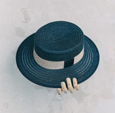 CANOTIER - Bleu Marine bordé ruban Bleu Marine