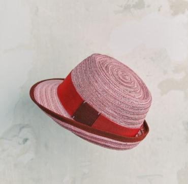 CHAPEAU TRILBY ENFANT - Rose bordé ruban Rouge Cramoisi
