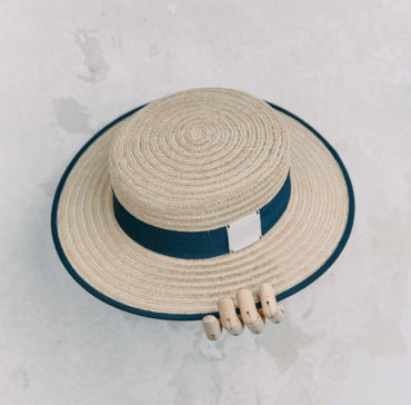 CANOTIER - Naturelle bordé ruban Bleu Marine
