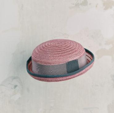CHAPEAU ENFANT - Rose bordé ruban Gris