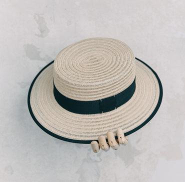 CANOTIER - Naturelle bordé ruban Noir