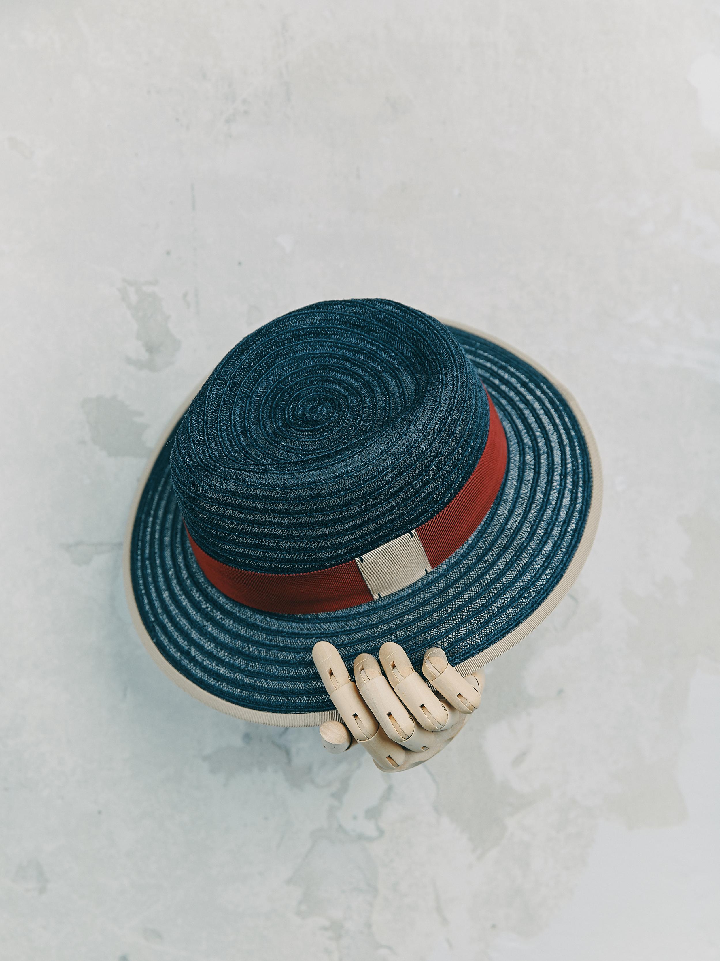 CANOTIER - Bleu Marine bordé ruban Beige
