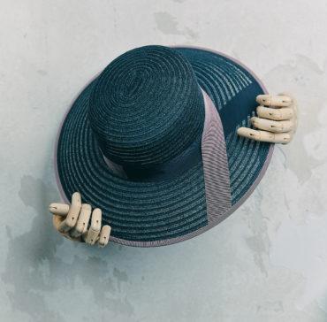 CANOTIER - Bleu Marine bordé ruban Lilas